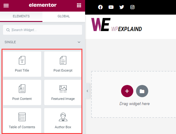 create a single post template using the elements from the design panel
