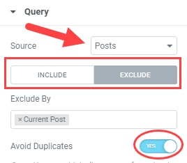 related posts query settings