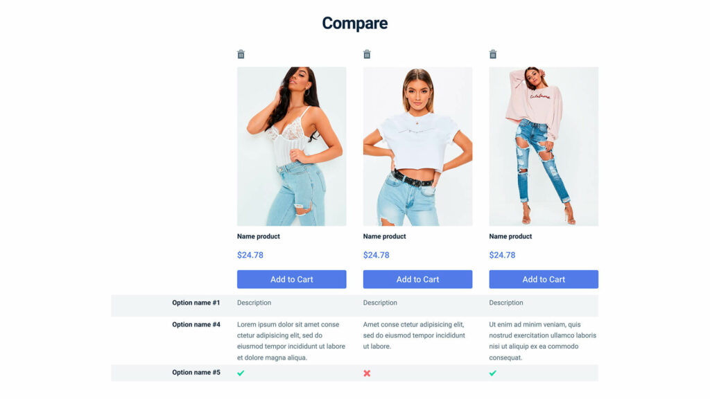 Jet Compare and Wishlist example product comparison