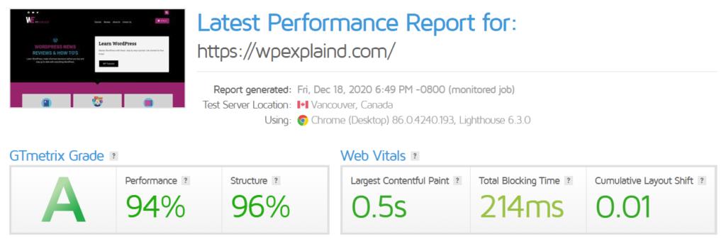 Speed up WordPress with GT Metrix performance reports