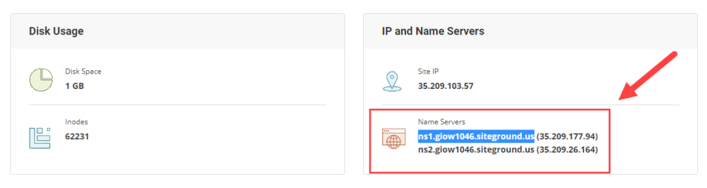 IP and nameservers in Siteground
