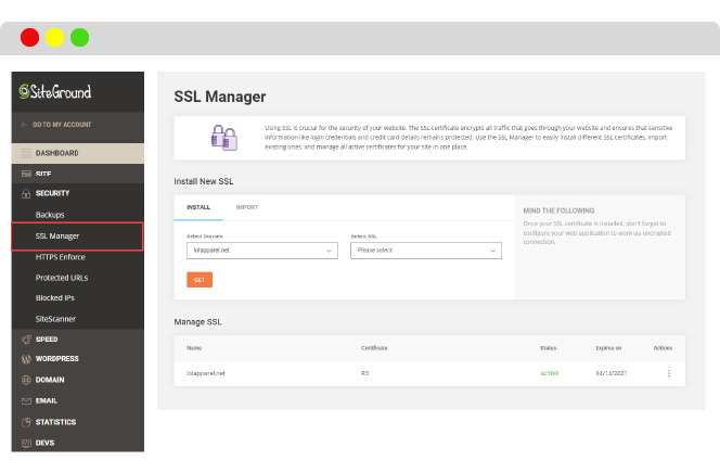 manage your SSL certificates in Siteground