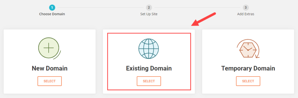 choosing your domain in Siteground- new , existing, or temporary