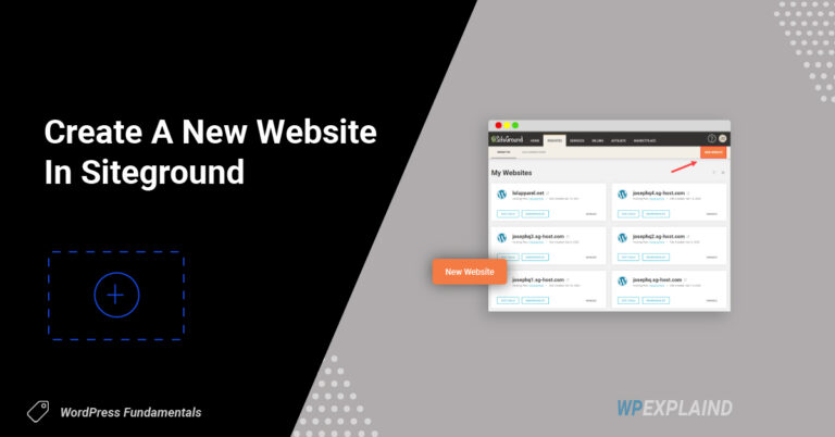 create a new website in Siteground