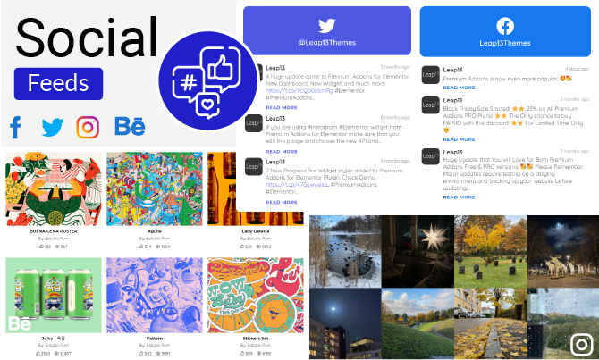 social feeds created with premium addons for elementor
