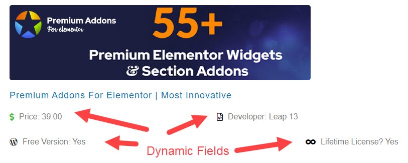 addons listing created in Jet Engine plugin.