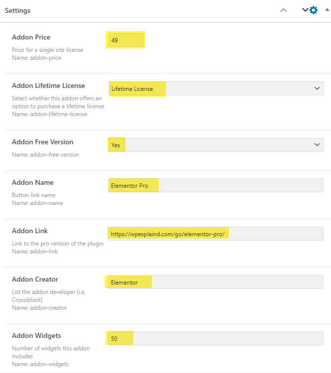 fill in the values for the fields with every new post you create
